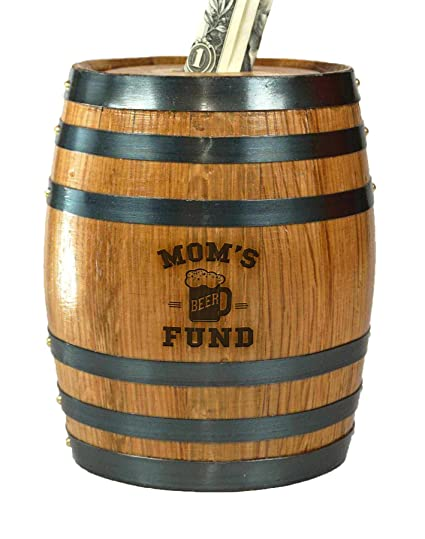 Moms Beer Fund Mini Oak Barrel Piggy Bank