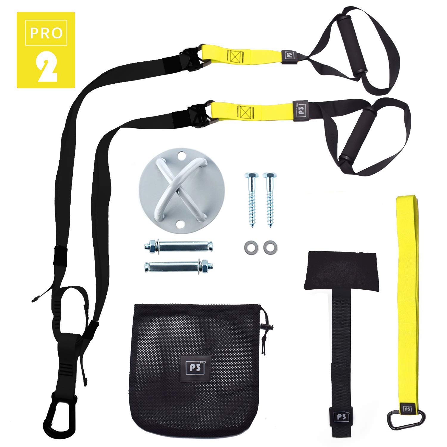 O RLY Schlingentrainer Sling Trainer Bodyweight Fitness Resistance Straps Trainer (P3 Pro 2 + Wall Mount)