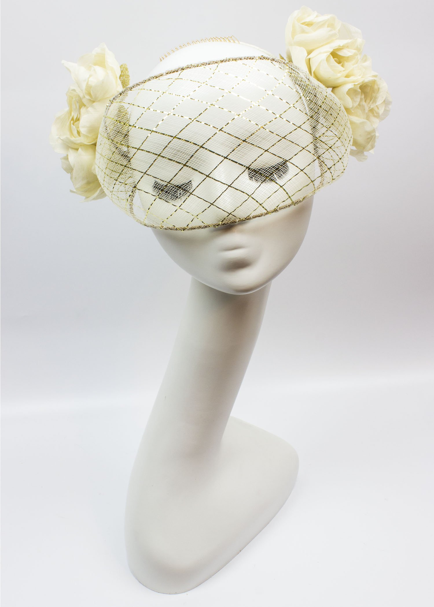 Gold and Ivory Crinoline Wired Veil with Silk Handmade Flowers
