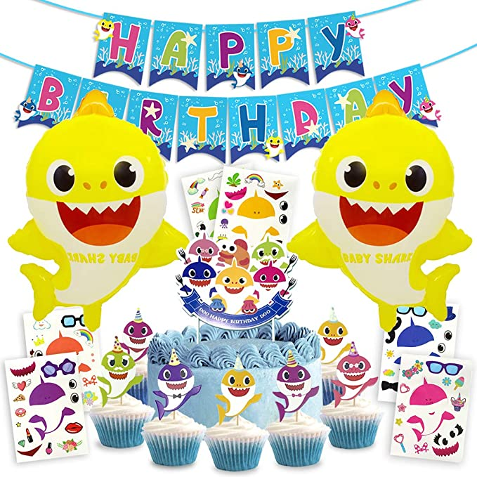 Kreatwow Shark Birthday Decoration Kit de Suministros para el Primer cumpleaños Banner Baby Shower Cupcake Toppers Globos 1st 2nd Shark Stickers