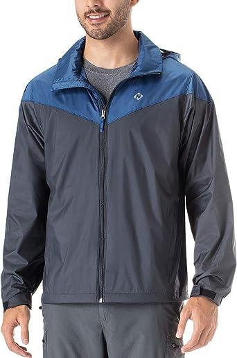 Man Pocket Color Block Hooded Windbreaker Lightweight Breathable Raincoat Jacket