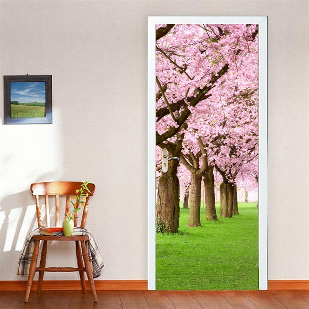 Fymural Door Mural 3D Sakura Removable Wallpaper Vinyl Door Wall Murals Decal for Home Door Decoration 30.3x78.7