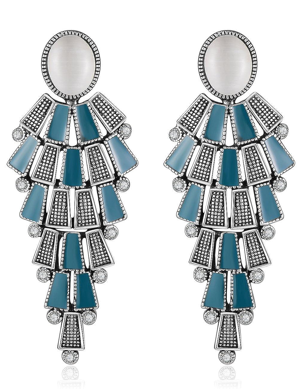 XZP Opal Clip On Earrings Chandelier Retro Tiered Dangle Bohemian Clips Earrings for Women XE1708196