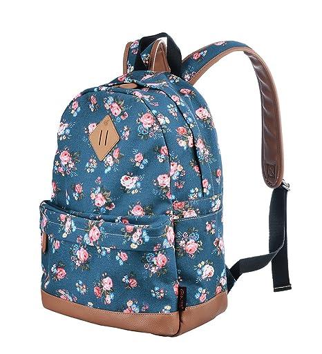 3e67af0704199 Rucksäcke Damen Schulrucksack UniTasche Vintage Rucksack (Blaue Blumen-2)