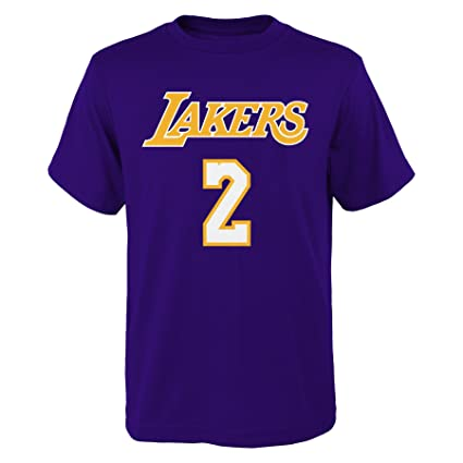 low cost b56f8 8c003 Lonzo Ball Los Angeles Lakers Youth Purple Name and Number Player T-shirt