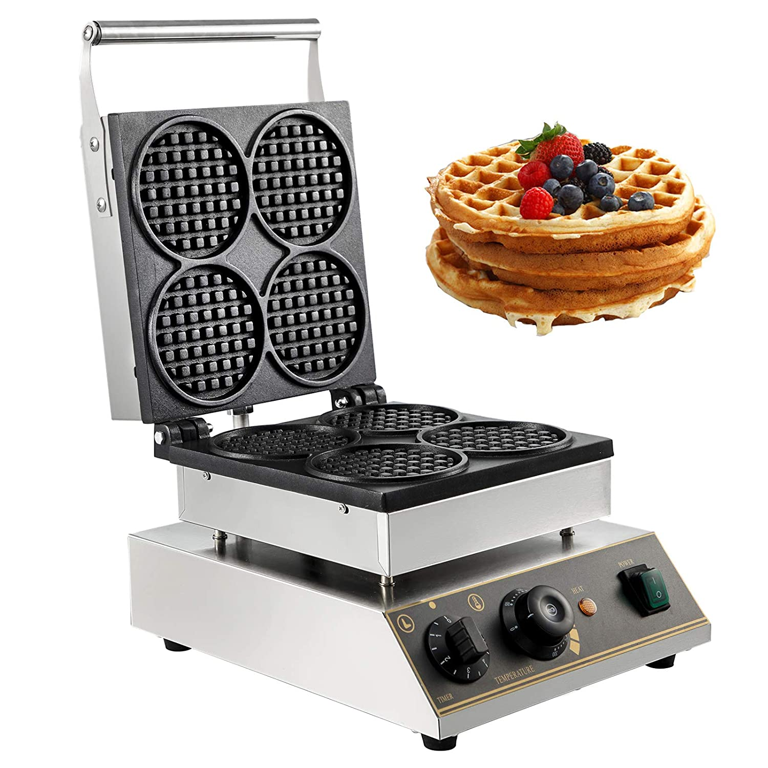 VBENLEM Commercial Round Waffle Maker 4pcs Nonstick Electric Waffle Maker Machine Stainless Steel 110V Temperature and Time Control Heart Belgian Waffle Maker Suitable for Restaurant Snack Bar Family