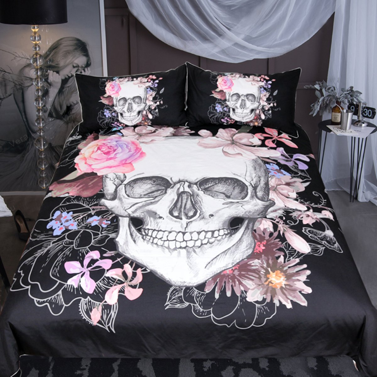 Sleepwish Sugar Skull Rose Bedding Pink Black White Duvet Cover Boys Skull Bedspread 3 Piece Duvet Cover Sets (Queen)