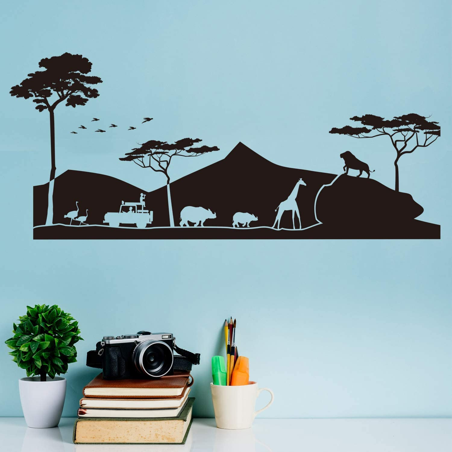 VODOE African Wall Decal, Animal Wall Decal, Nature Forest Jungle Tropical Desert Natural Safari Sunset Natural Stickers Suitable for Family Living Vinyl Art Decor(Black 36.2 X 15.7 inches)