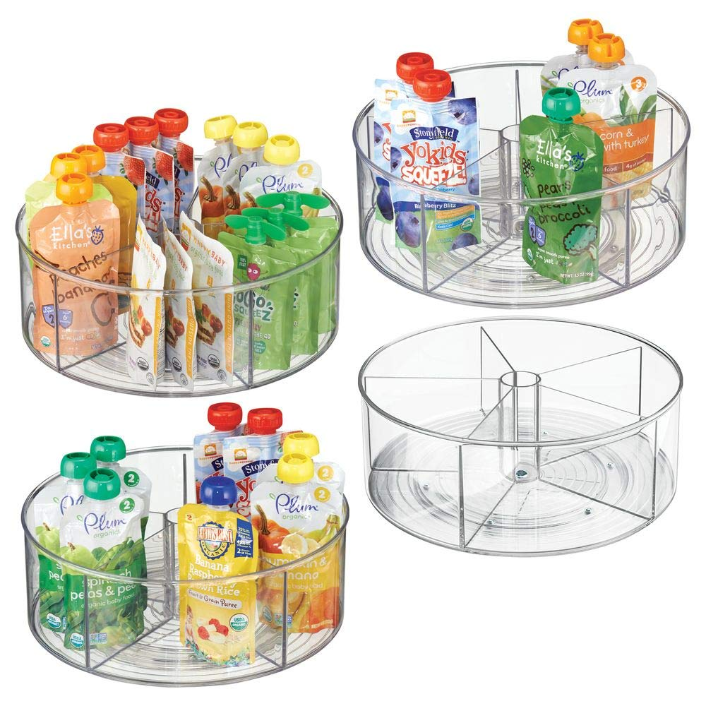 mDesign Divided Lazy Susan Turntable Storage Container for Kitchen Cabinet, Pantry, Refrigerator, Countertop - BPA Free, Food Safe - Spinning Organizer for Kids/Toddlers - 5 Sections, 4 Pack - Clear by mDesign