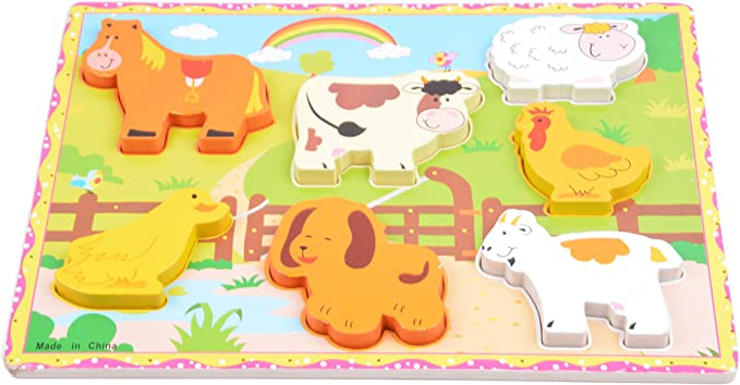 Tiny Souls Wooden 7 Animals, Cow, Sheep, Chicken, Dog, 3D Puzzle