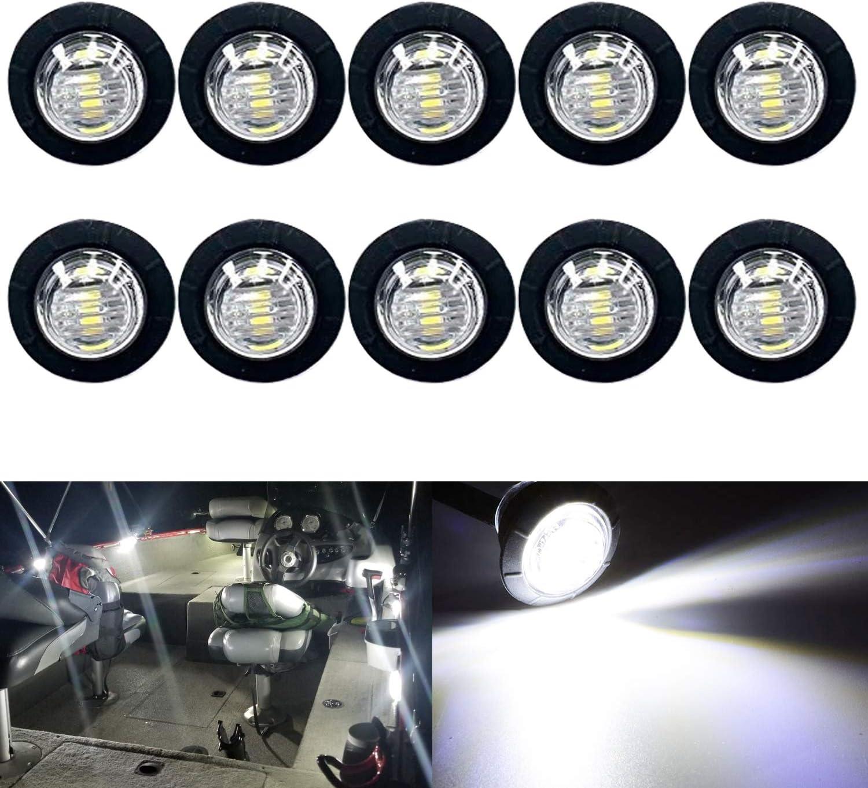 10 Pack Waterproof Marine Boat LED Lights, LED Underwater Lighting, Utility Led Interior Lights Navigation Lights Deck Courtesy Lights 12V for Yacht Boat Fishing Pontoon Sailboat Kayak