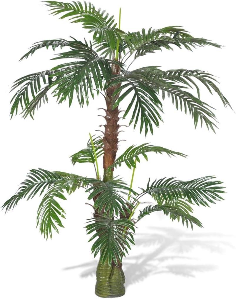 UnfadeMemory Palmera Cycus,Planta Artificial Decorativa,Decoración de Hogar Oficina,Altura 150cm,Tronco de Plástico y Madera