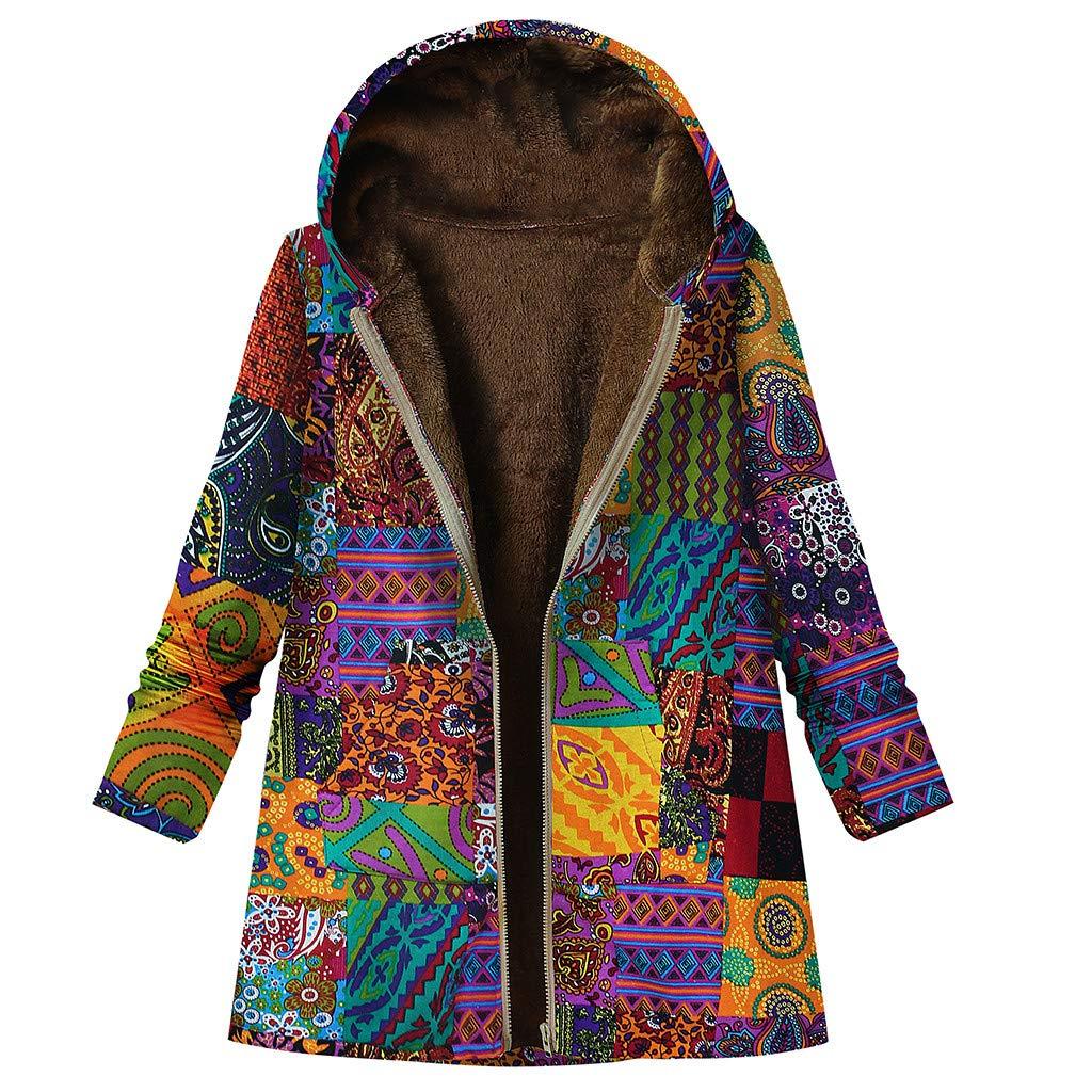 Tops Women Winter Coat Vintage Warm Overcoat Floral Printed Pockets Jacket Thicker Hooded Fleece Coat Outwear(Orange,L) by WatFY