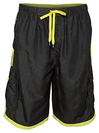 8e73292ad7473 Burnside Mens Swim Striped Board Shorts-B9401-Small-Hther Grey-Yellow