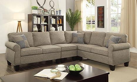 Amazon Com Rhian Light Gray Fabric Sectional Sofa By Furniture Of