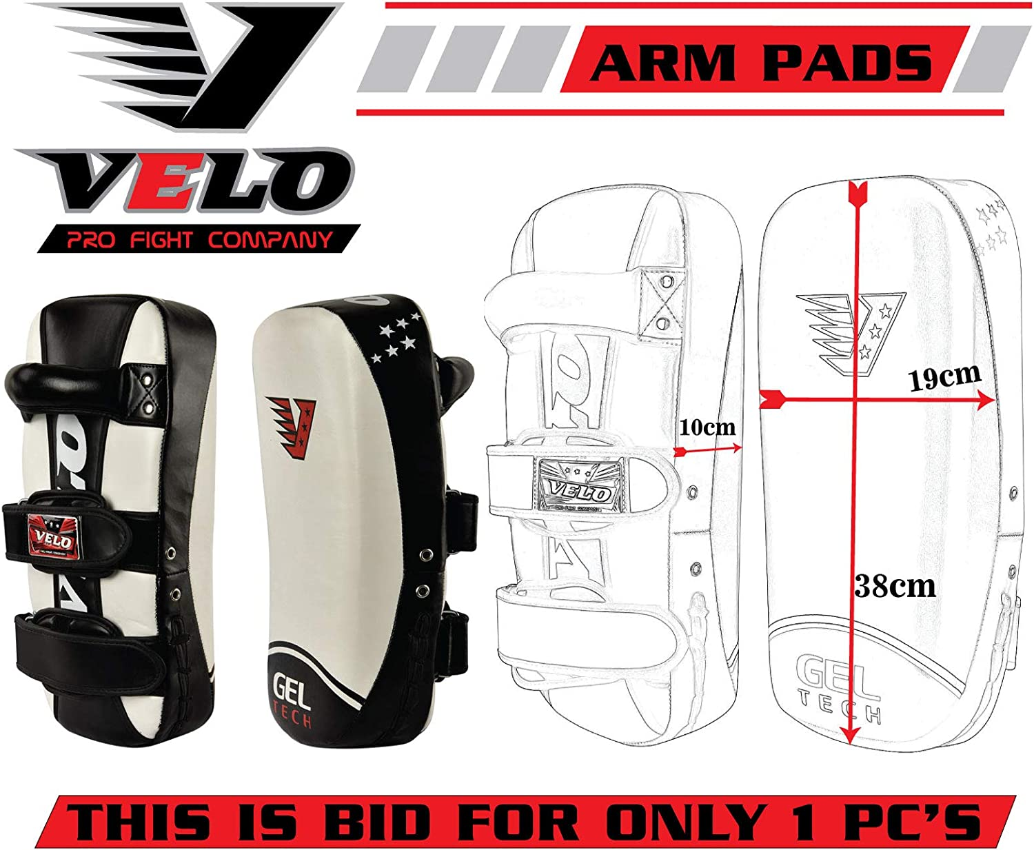 VELO Curved Strike Kick Shield Pad MMA Muay Thai Shield Curved Pads White Single Item Only