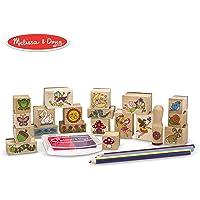 Melissa & Doug Stamp-a-Scene 印章套装:仙女花园-20块木制印章,5支彩色铅笔,2色印泥