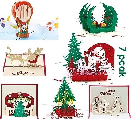 PILIN Tarjetas de felicitación 3D - Felices tarjetas de Navidad hechas a mano en 3D para decoraciones navideñas y felicitaciones navideñas - 7 ...