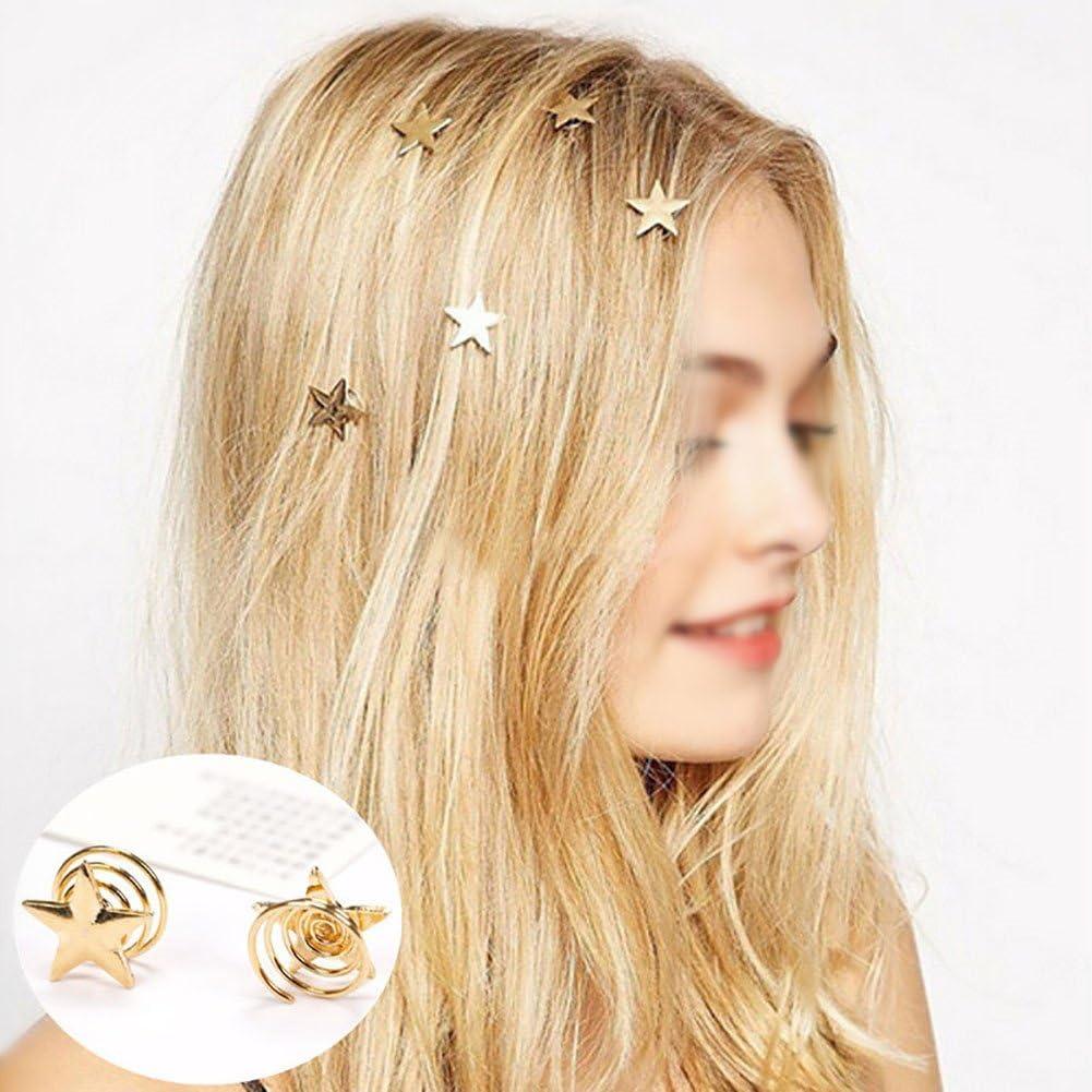 5 pinzas para el pelo con forma de estrella dorada en espiral para horquilla, adorno para el pelo, accesorio de peluquería, de BIGBOBA