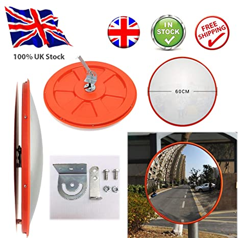 60cm Supermarket Wide Angle Traffic Mirror Road Mirror Safety Mirror Concave Parking Mirror Security Curved Convex Road Mirror with Bracket Screws for Driveway Blind Spot Road