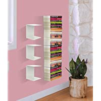 APPUCOCO Book Shelf Wall Mounted Heavy Duty Metal Invisible Book Shelves (Made in India) with Screws & Plastic Anchors Included - White