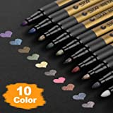 Premium Metallic Marker Pens, DealKits Set of 10 Assorted Colors Paint Pen for Scrapbooking Crafts, DIY Photo Album, Art Rock Painting, Card Making, Metal and Ceramics, Glass - Medium Bullet Tip