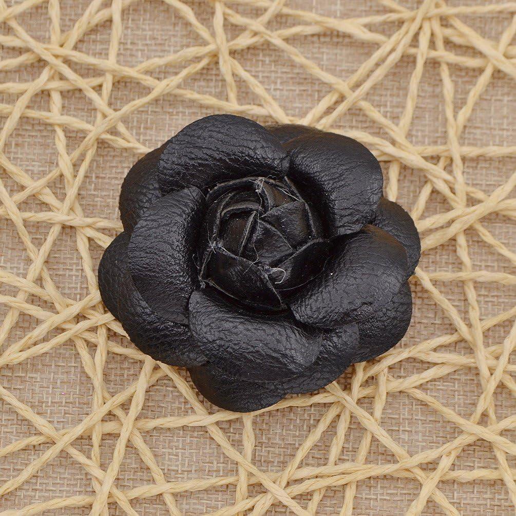 YNuth DIY Flor de Camelia Artificial de Cuero para Decoraci/ón de Sombreros Zapatos Bolsos Broche de Camelia para Mujeres Color Blanco