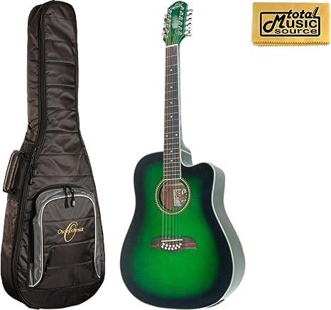 Oscar Schmidt od312cetgr a/E Guitarra de 12 cuerdas, Trans verde ...