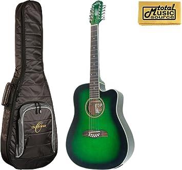 Oscar Schmidt od312cetgr a/E Guitarra de 12 cuerdas, Trans verde, W ...