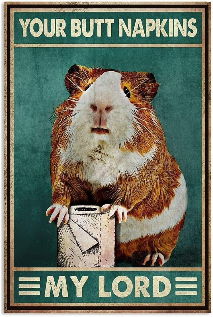 Vintage Guinea Pig Your Napkins Retro Tin Sign, Bathroom Decoration for Bars, Restaurants, Cafes and Bars, 8x12 Inches New Year, Metal Sign