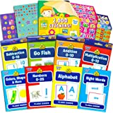 Flash Cards School Zone Super Set for Toddlers/Kids -- 8 Packs (ABC, Numbers, Colors and Shapes, Sight Words, Addition, Subtraction, Multiplication, Go Fish and Bonus 2000 Reward Stickers)