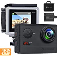 """Action Camera 4K WiFi Sports Camera - FITFORT Full HD 12MP 170° Wide Angle Waterproof Sports Camcorder with 2"""" LCD, 2 Rechargeable 1050mAh Batteries, Free Travel Bag and 19 Accessories Kits"""