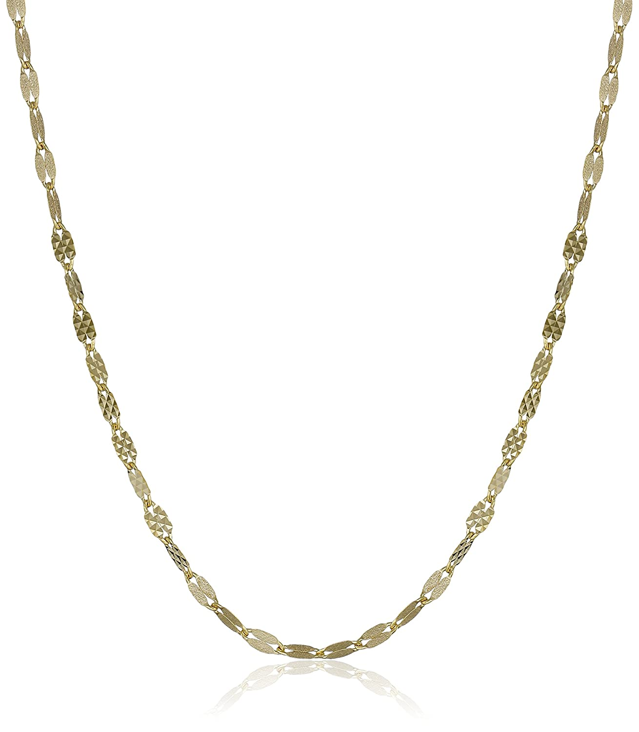 14k Gold Italian Diamond-Cut and Satin Finish Link Necklace