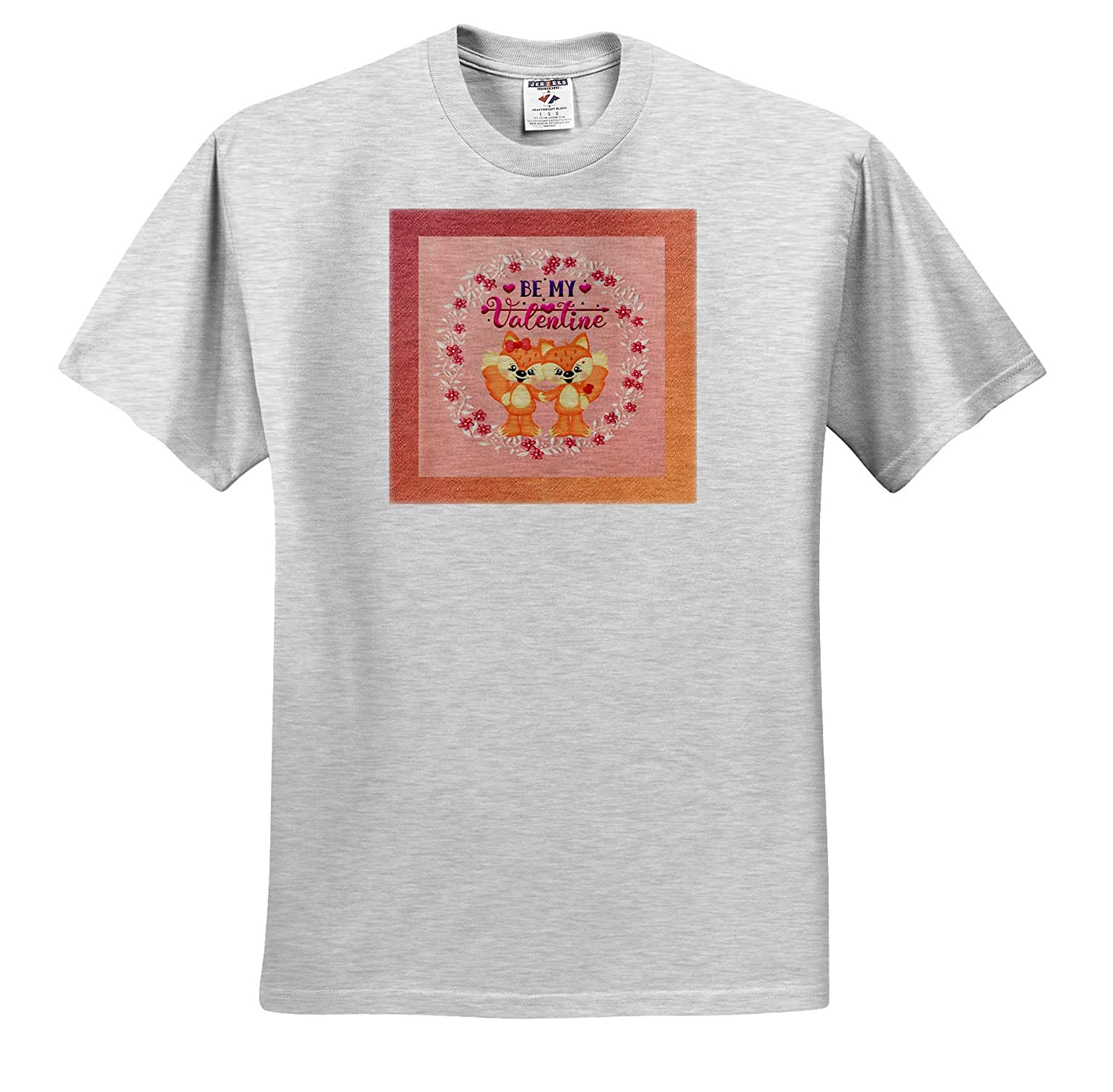 T-Shirts Flower Frame Be My Valentine 3dRose Beverly Turner Valentine Design Image of Fox Couple