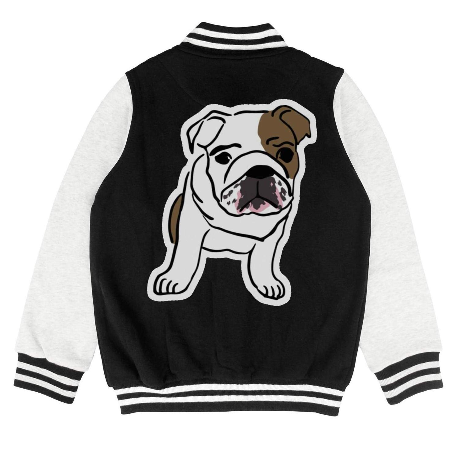 PoPBelle Kids Boston Terrier and French Bulldog Friends Teen Girls Baseball Jacket for Girls Boys Cute Cozy Coats