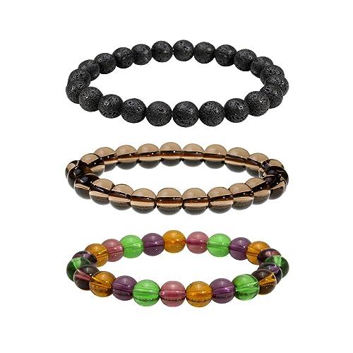 MILAKOO Men Women 8mm Natural Stone Lava Rock Diffuser Bracelet Elastic Yoga Beads Bracelet Bangle
