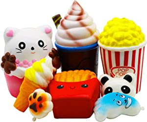 Viccent Jumbo Squishies Toys Slow Rising Pack - Cat Cake,Chocolate Frappuccino,Popcorn,Fries,Ice Cream,Cat Paw,Panda,Feet Squishy for Kids Stocking Stuffer Prize Party Favors(8 Pcs)