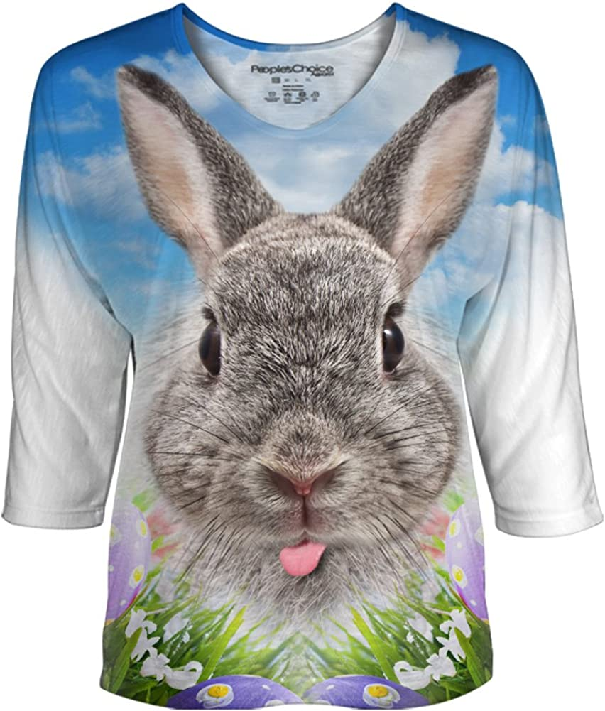 Peoples Choice Apparel Funny Bunny Womens Dolman Sleeve Top for Easter
