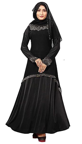 94f3f0e2aa00 Justkartit Women's Chiffon Shrug Style Lycra Abaya Burka with Silver Beads ( Black; 44): Amazon.in: Clothing & Accessories