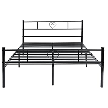 Outstanding Eggree Double Bed Solid Metal Beds Frame Heart Shaped With Large Storage Space For Adults Black Onthecornerstone Fun Painted Chair Ideas Images Onthecornerstoneorg