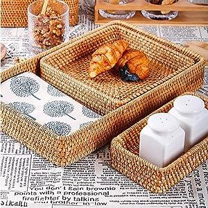 Bellameri Bread Basket, Natural Handmade Rattan Food Serving Baskets, Set of 3 Hand-woven Tabletop Food Fruit Multifunctional Sturdy Storage for Restaurant Bakery Family Party