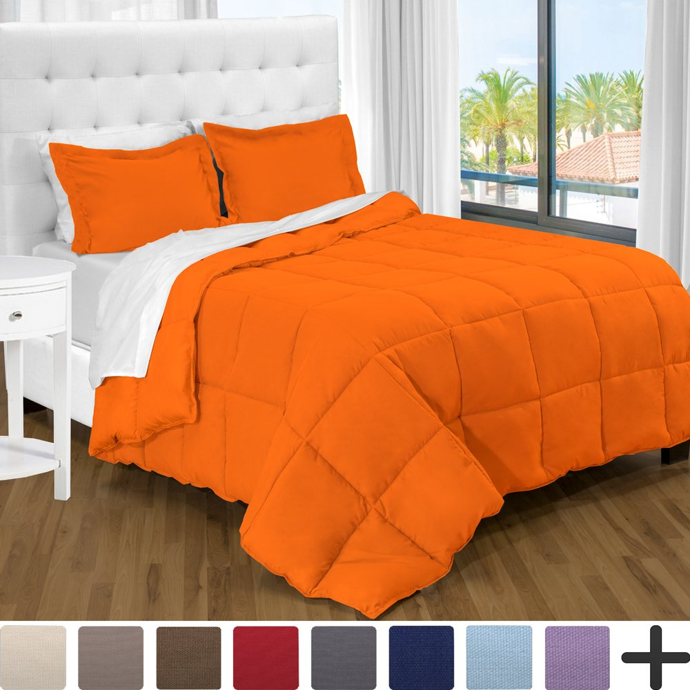 Ultra-Soft Premium 1800 Series Goose Down Alternative Comforter Set Orange
