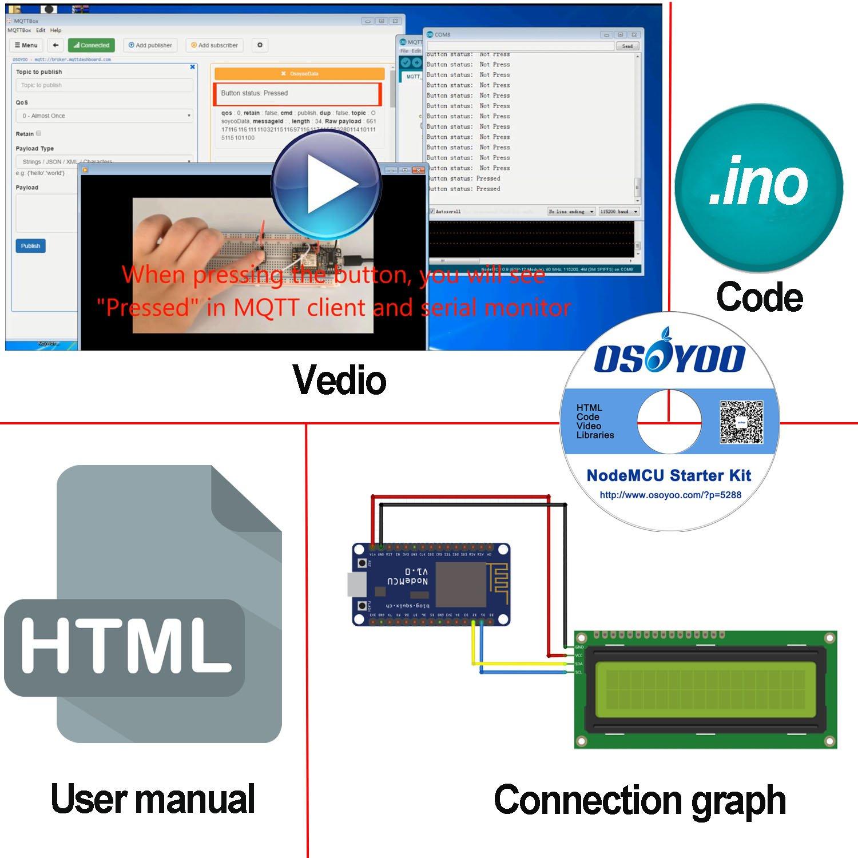 OSOYOO NodeMCU IOT Starter kit 2018 Open Source Programming Learning with NodeMCU ESP8266 WiFi Developmen board and Free Tutorial For MQTT Broker