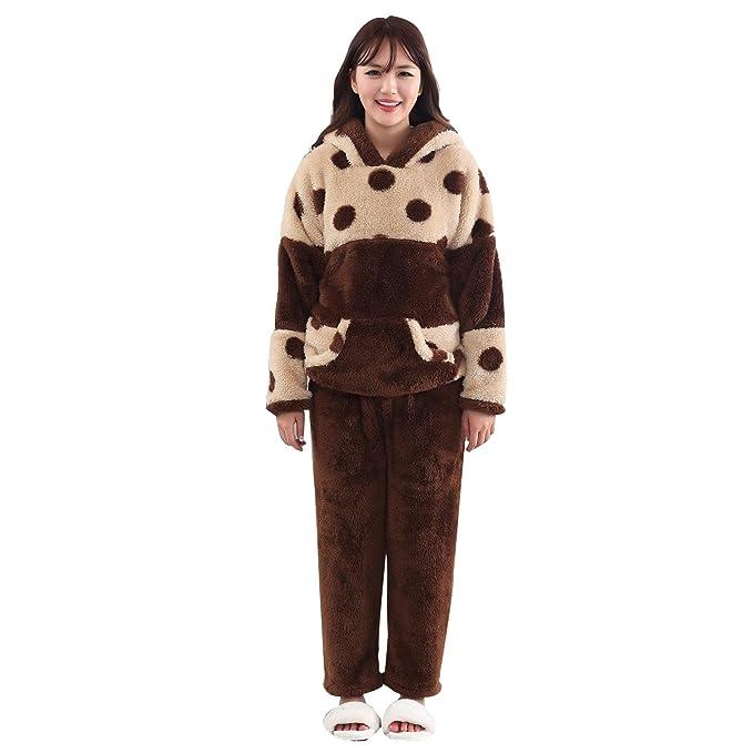 Invierno franela pareja encapuchada pijama traje sencillo hombres y mujeres cálidas, además de cachemira engrosamiento