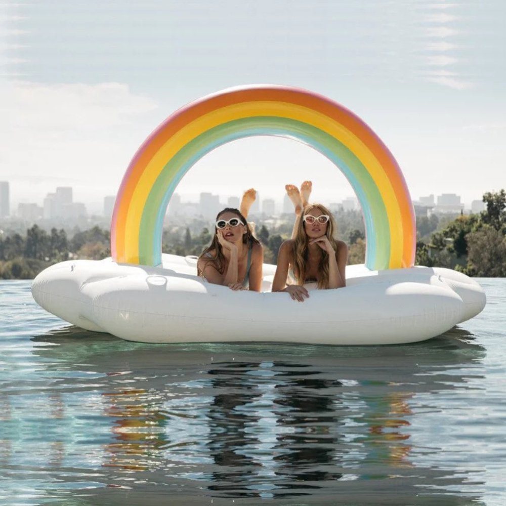 LUSTAR Piscina Inflable Flotador Floaties Gigante Flotador Inflable Anillo De Natación Air Cushion Arco Iris Island Flotador De La Piscina Monte Cama Flotante