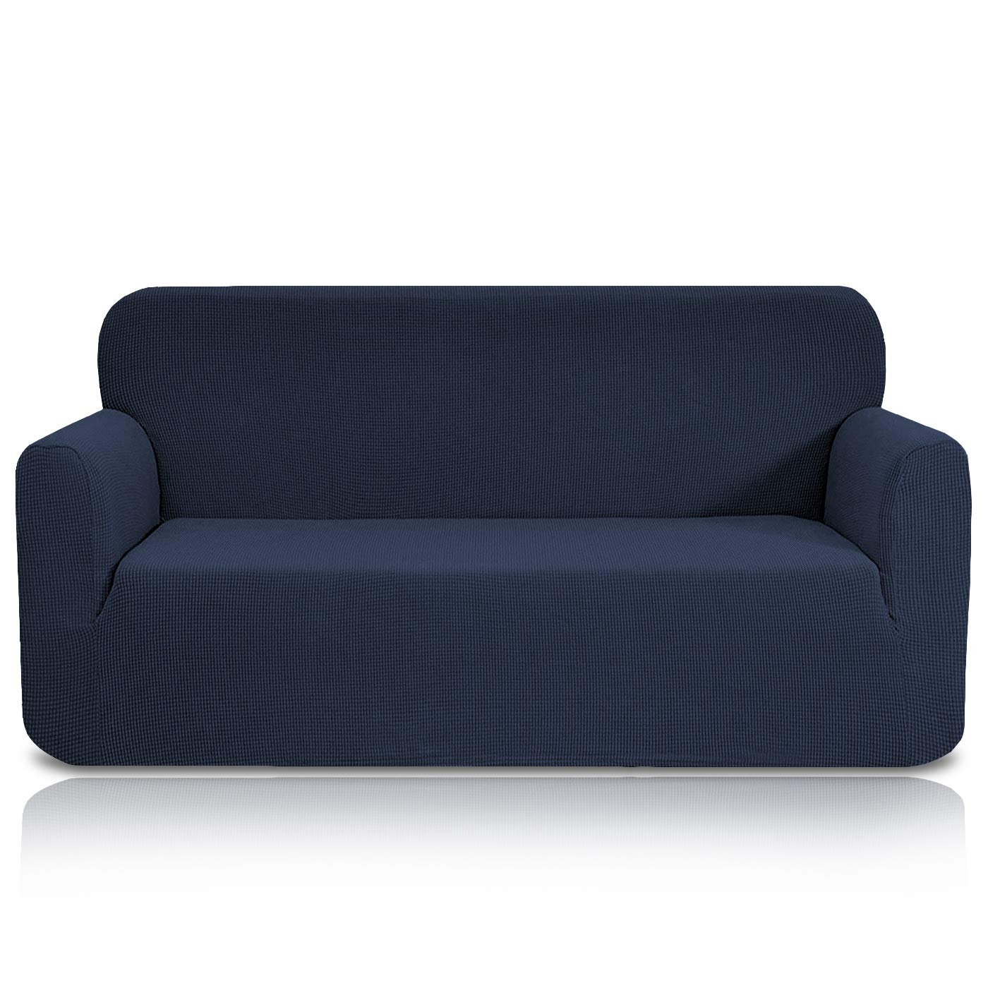 TRUE HOME COLLECTION Premium Jacquard Stretch Loveseat Slipcover, Stylish and Strapless Blue Color Couch Cover