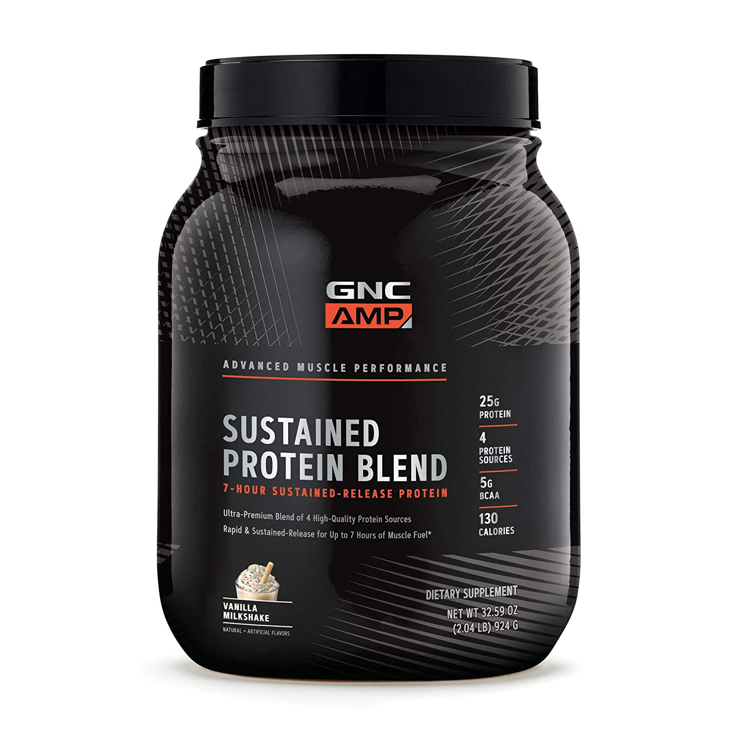 GNC AMP Sustained Protein Blend – Vanilla Milkshake, 2.04 lbs, High-Quality Protein Powder for Muscle Fuel