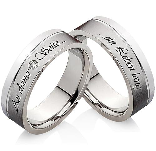 Anillos anillos de compromiso de acero inoxidable con Swarowski circonitas y grabado láser Z111: Amazon.es: Joyería
