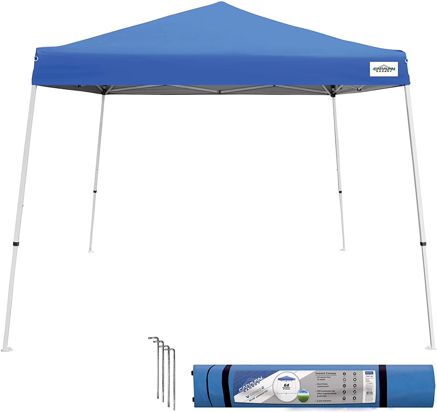 Caravan Canopy Sports 21007800020, 10'x10' Base 8'x8' top, Blue