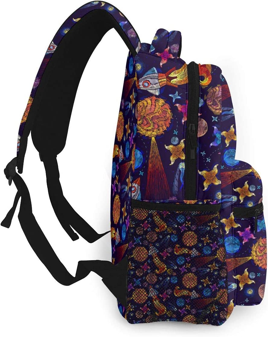 Embroidery Universe And Spaceship Print Lightweight Backpacks Casual School Bags Daypacks For Kis Adult